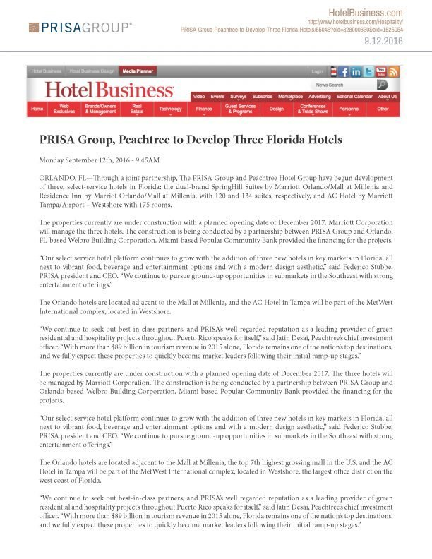 Prisa Group | PRISA Group, Peachtree to Develop Three